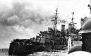 HMS Trinidad, burning off the North Cape, 1942